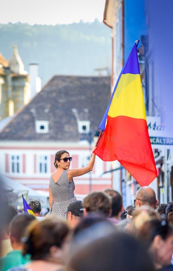 brasov中心城市老罗马尼亚 从海外的罗马尼亚人抗议反对gover 免版税库存照片