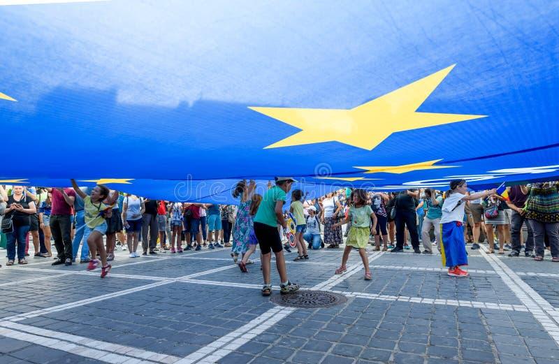 brasov中心城市老罗马尼亚 从海外的罗马尼亚人抗议反对gover 免版税库存图片