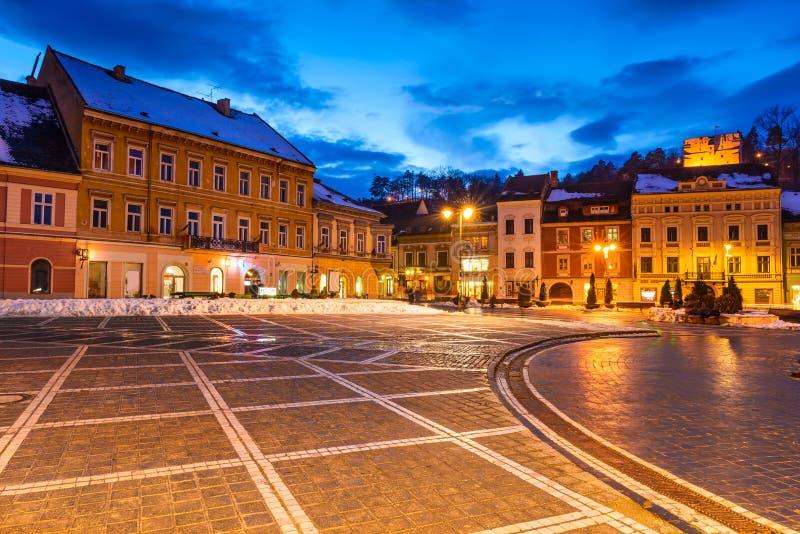 brasov中心城市老罗马尼亚 免版税图库摄影