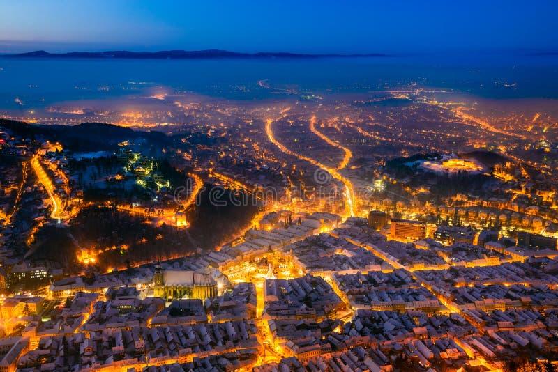 brasov中心城市老罗马尼亚 免版税库存图片