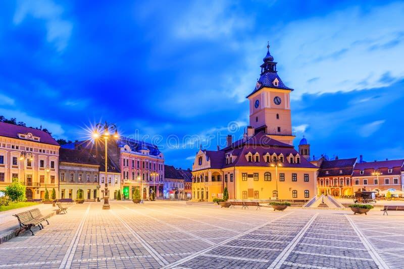 brasov中心城市老罗马尼亚 库存图片