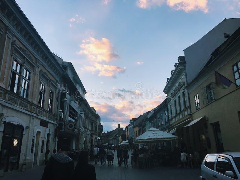 brasov中心城市老罗马尼亚 图库摄影
