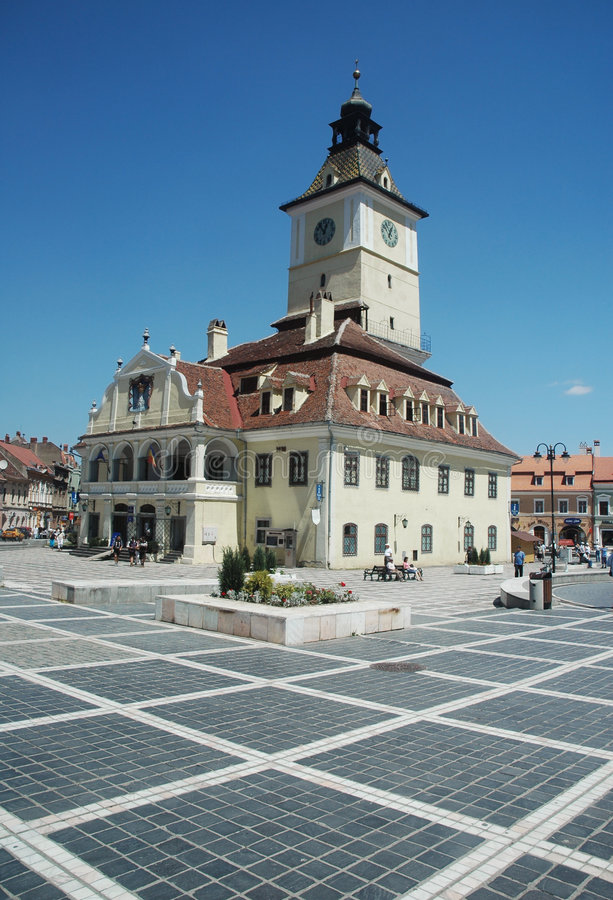 brasov市政厅正方形 免版税库存照片