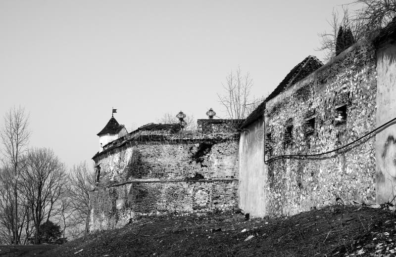 Brasov citadel. Brasov old citadel in black and white royalty free stock images