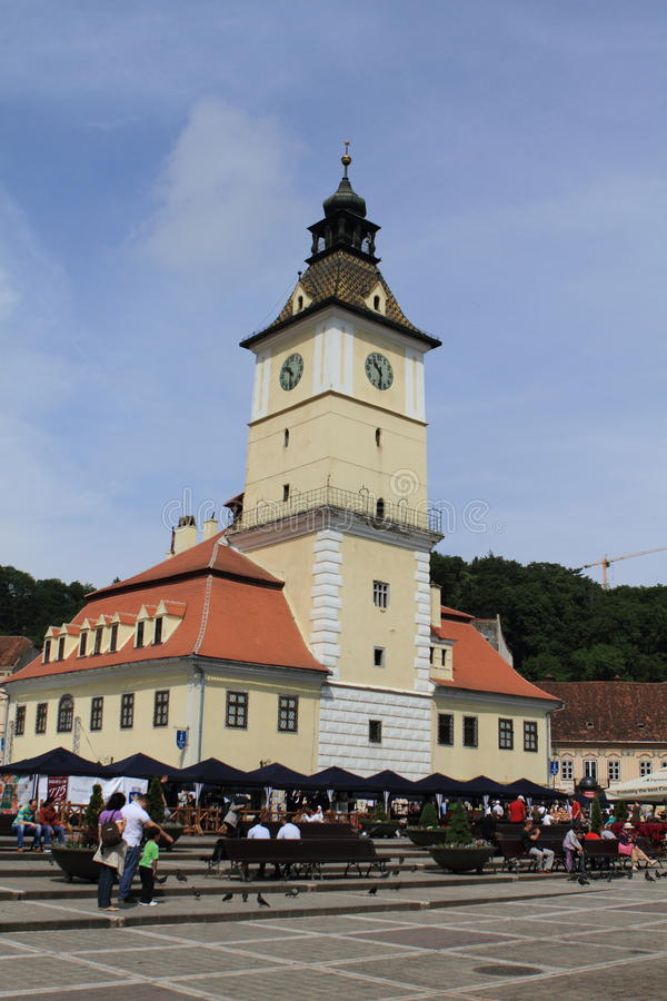 Brasov city hall and centre stock image