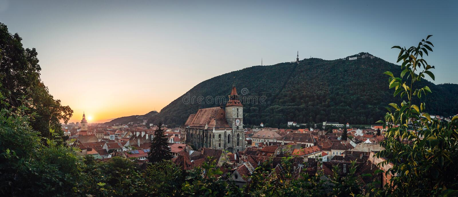 Brasov city stunning sunrise overview panorama. Famous destination scenic skyline panorama travel postcard stock image