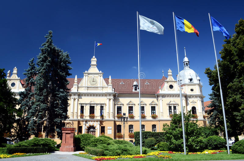Brasov Cityhall. Located in the central part of Romania, Brasov provides a mix of wonderful mountain scenery and medieval history with German influences in the royalty free stock image
