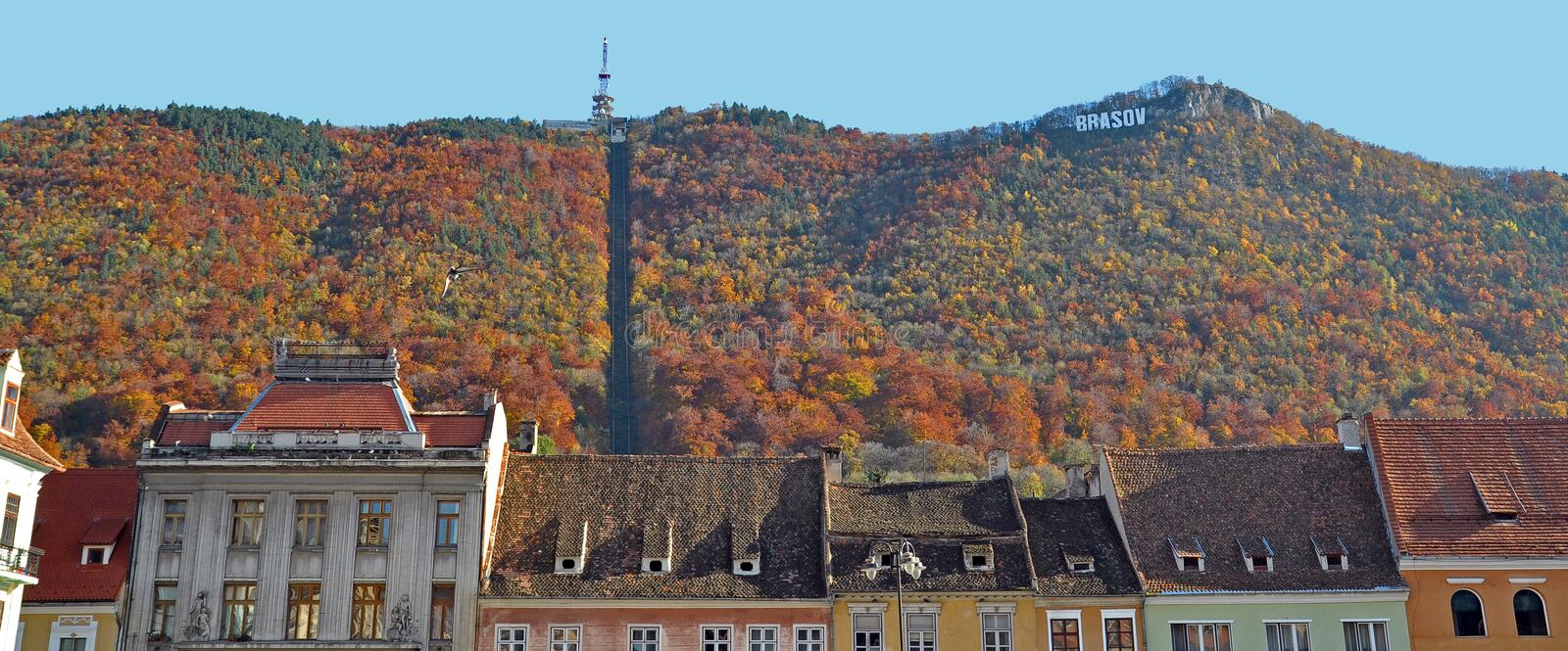 Brasov cityscape in the fall stock image