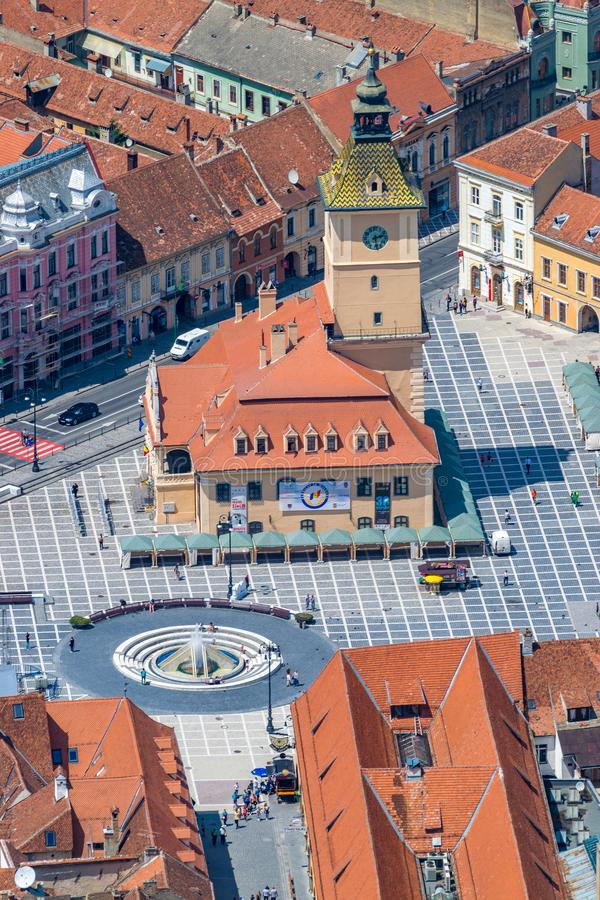 Brasov Council House in the main square in Brasov, Romania stock photo