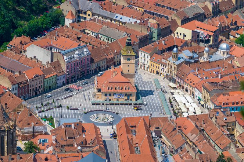 Brasov Council House in the main square in Brasov, Romania royalty free stock photos