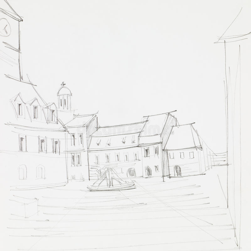 Brasov Council Square. Graphic sketch of Council Square in Brasov, Romania, drawn by hand royalty free illustration
