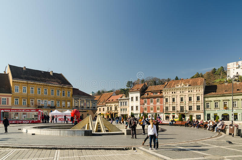 Brasov Council Square Historical Center royalty free stock image