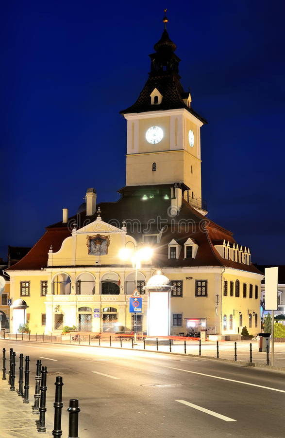 Brasov Council Square, night view in Romania royalty free stock images