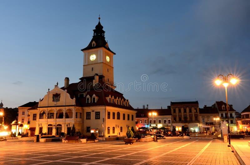 Brasov Council Square, night view in Romania stock photos