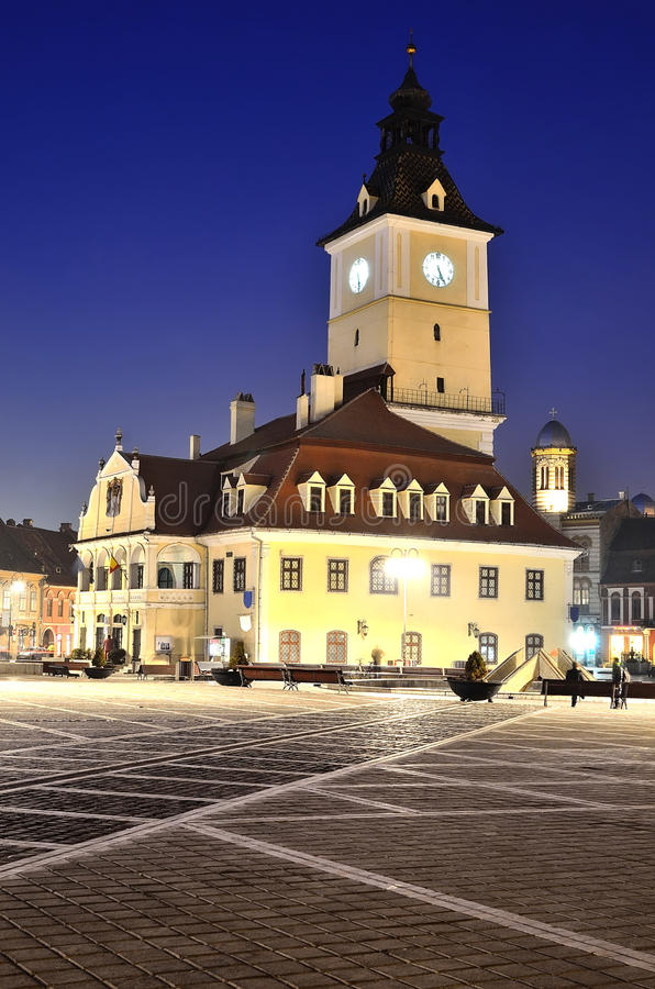 Download Brasov Council Square, Night View In Romania Stock Image - Image: 22425753