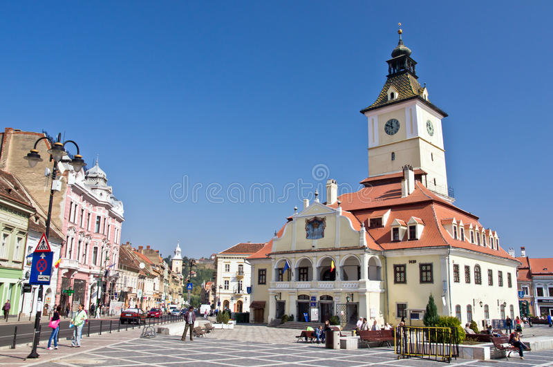 Brasov Council Square (Piata Sfatului). The city center of Brasov, Romania stock images