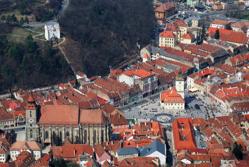 Brasov, de Vierkante en Zwarte Kerk van de Raad, Roemenië royalty-vrije stock fotografie