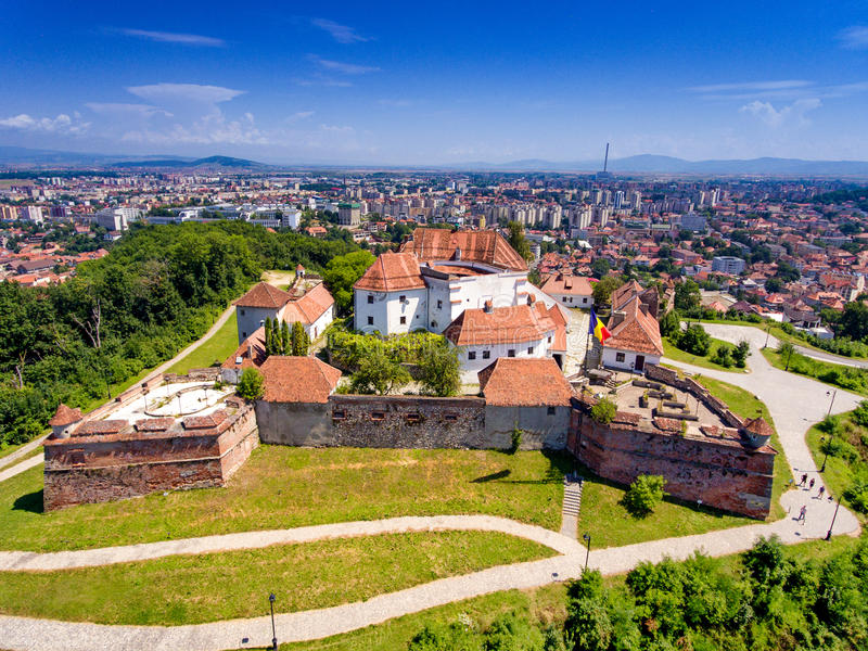 The Brasov Fortress as seen from above royalty free stock photography