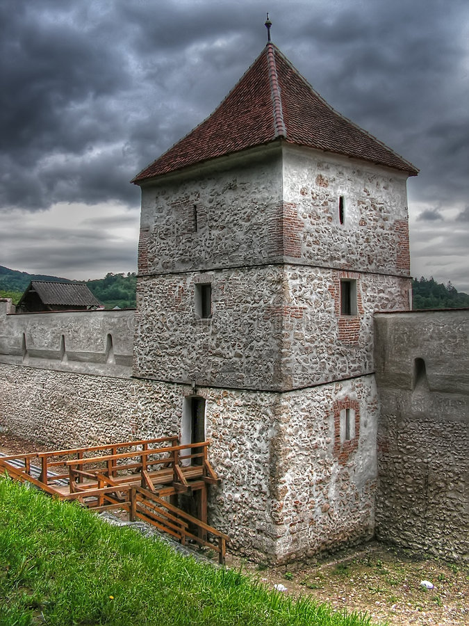 Brasov fortress old tower stock images