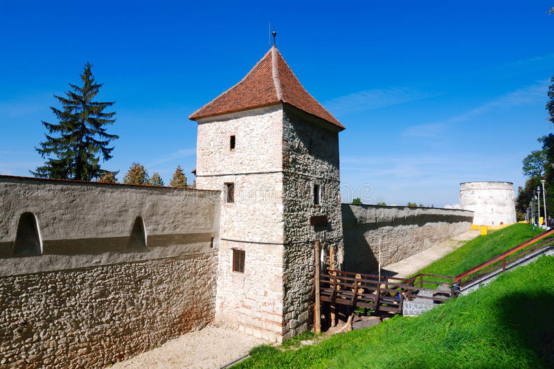 Brasov fortress tower in Romania stock images
