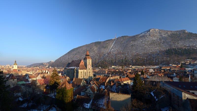 Brasov - la Roumanie - vue panoramique photographie stock libre de droits