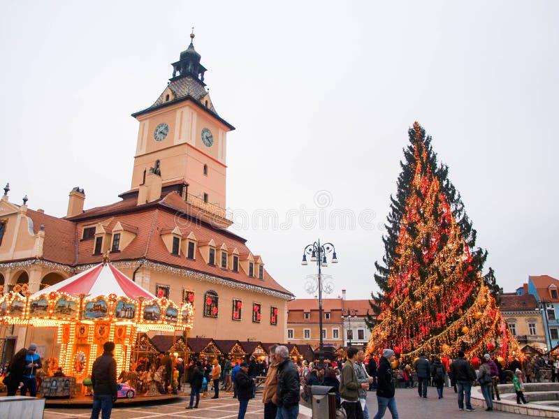 Brasov, la Transylvanie, Roumanie, à Noël images libres de droits
