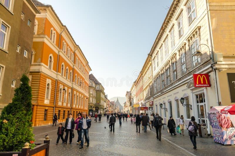 Brasov Main Street stock photo