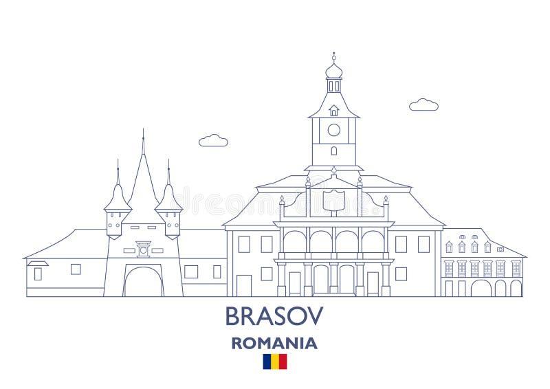 Brasov miasta linia horyzontu, Rumunia ilustracji