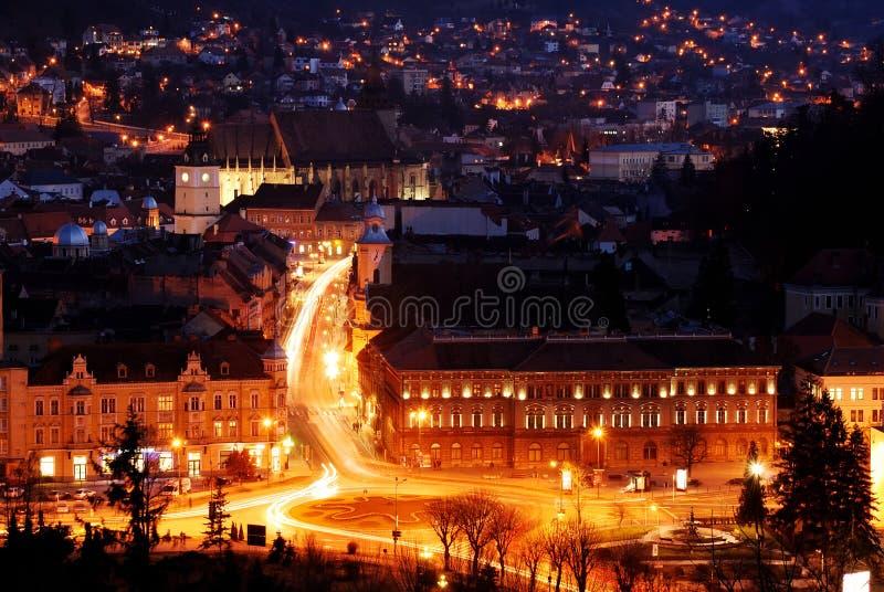 Brasov nightview, Romania, with Black Church royalty free stock photo