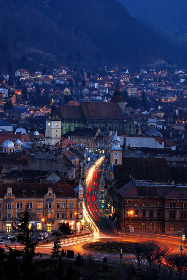 Brasov nightview, Romania, with Black Church stock images