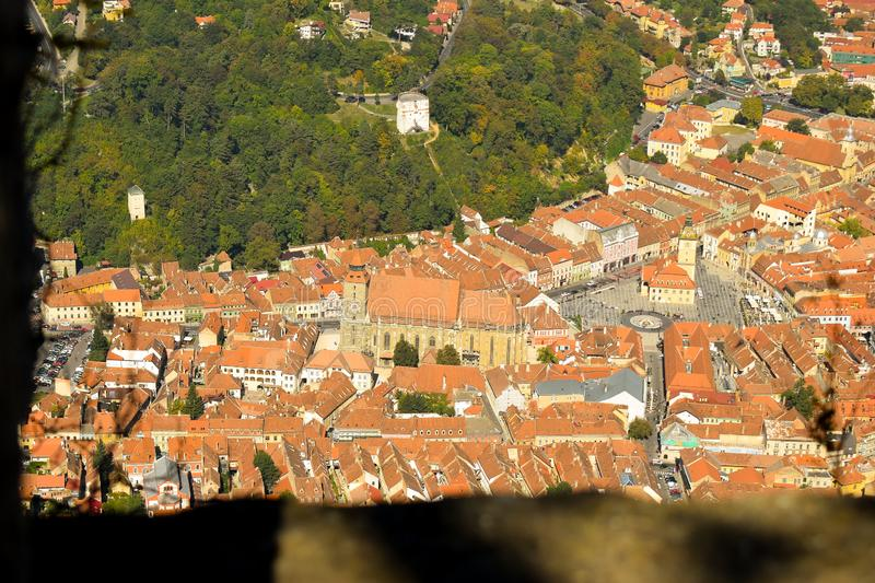 Brasov Old City. Autumn view from above Tampa Mountain. The Council Square is located in the historic centre of BraÈ™ov Romania.It obtained its right royalty free stock images