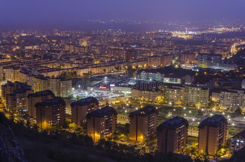 Brasov panorama at night stock photography