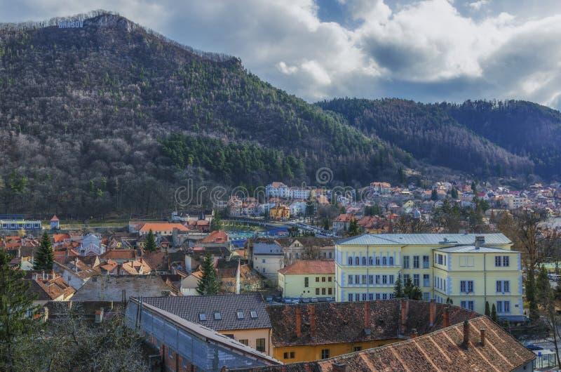 Brasov panoramautsikt arkivbild