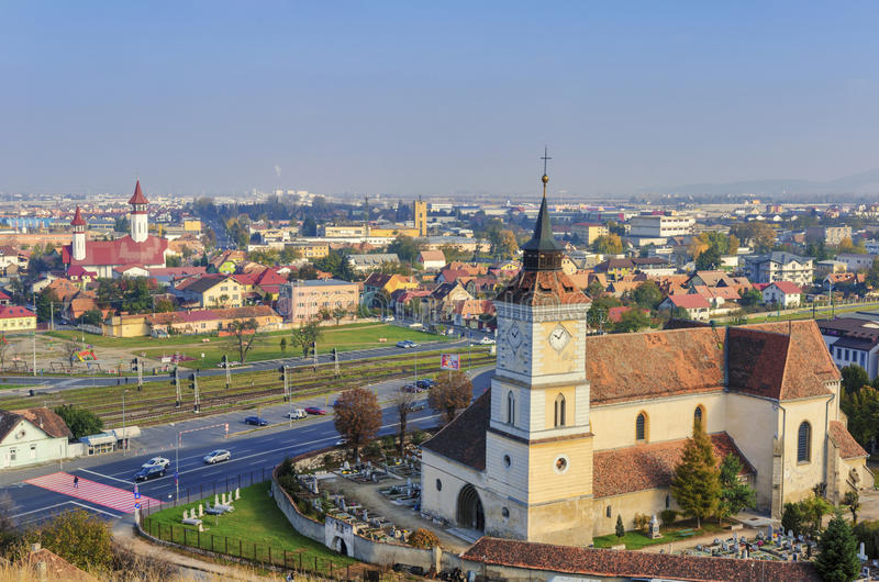 Brasov panoramautsikt royaltyfria bilder