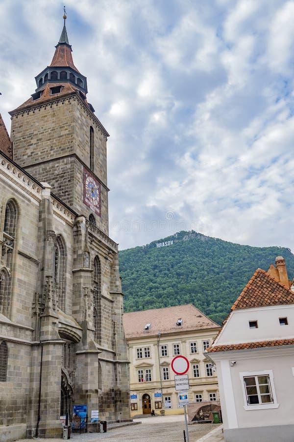 Brasov, Roemenië 19 Juni, 2019 De zwarte kerk stock afbeeldingen