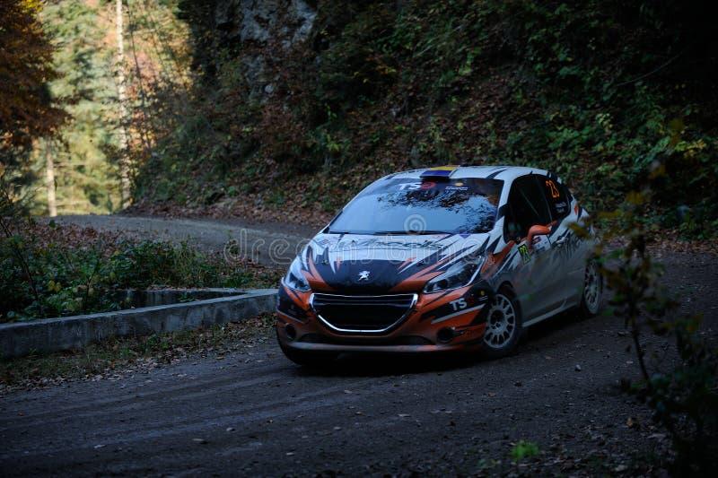 Brasov / Roemenië - 10/19/2019: Tess Rally 48 - Alexandru Gheorghe en zijn Peugeot 208 R2 op PS8 - Glejare stock afbeeldingen