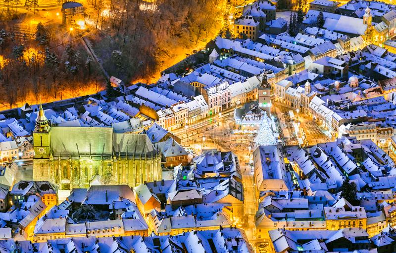 Brasov, Romania. Arial view of the old town during Christmas royalty free stock photography