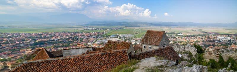 Brasov, Romania, as seen from Rasnov Castle stock photos