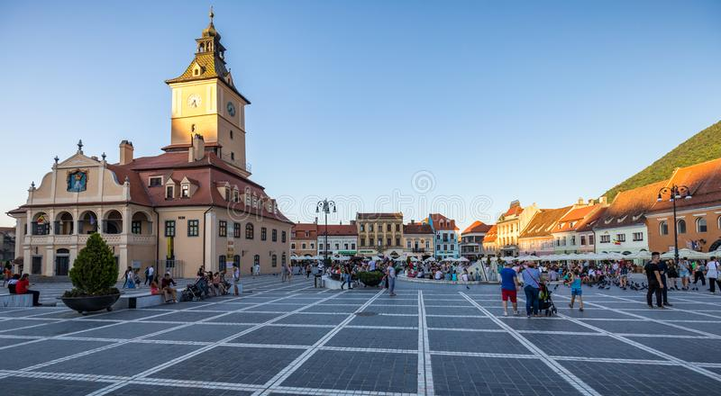 Brasov, Romania - 10 August, 2017: The Brasov Council Square (Piata Sfatului), is the main central square of the old medieval cit. Y of Brasov stock image