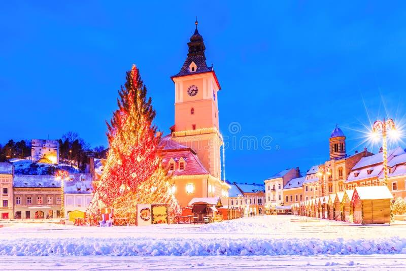 Brasov, Romania. Christmas Market at twilight royalty free stock photo