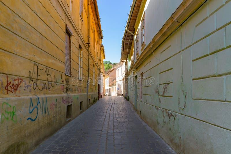 BRASOV, ROMANIA - 19 JUNE, 2018: Beautiful street in Brasov, Romania stock photography