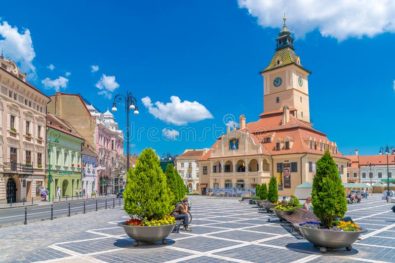 BRASOV, ROMANIA - 19 JUNE, 2018: Council house in the main square in Brasov, Romania royalty free stock photo