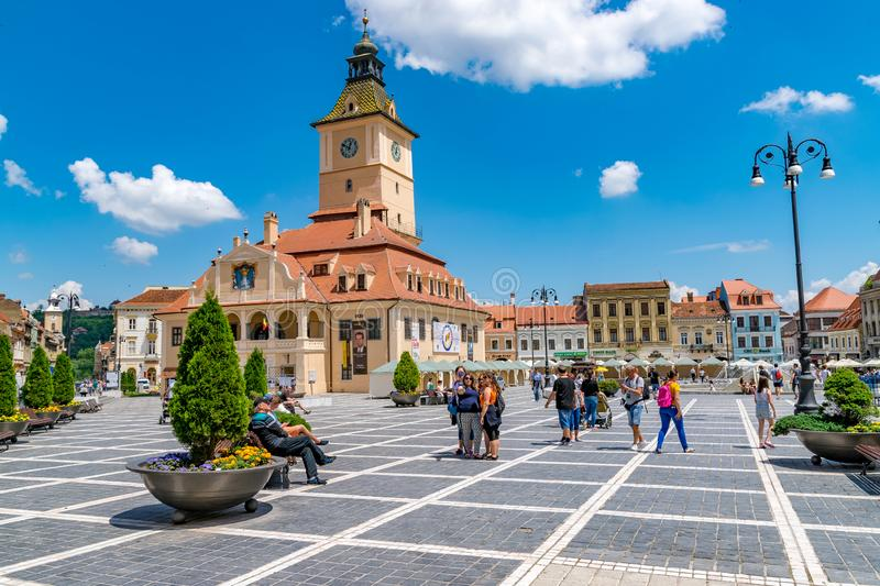 BRASOV, ROMANIA - 19 JUNE, 2018: Council house in the main square in Brasov, Romania royalty free stock image