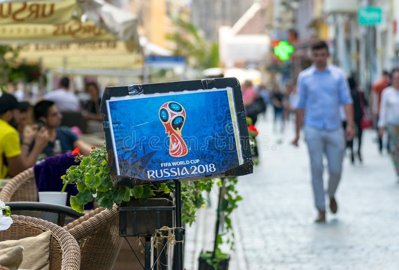 BRASOV, ROMANIA - 19 JUNE 2018: Rusia 2018 FIFA Wold Cup poster at a terrace in the center of Brasov stock photo