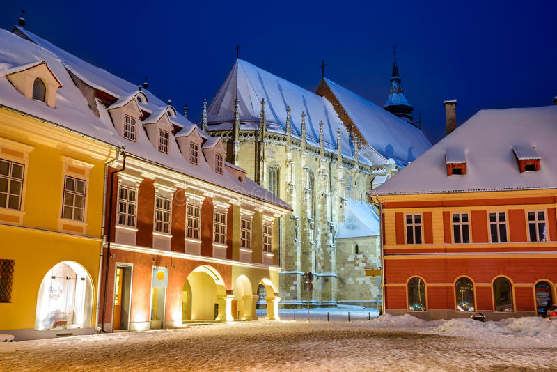 Brasov, Romania. Night image of Black Church built in medieval times in Council Square in downtown of Brasov, Transylvania royalty free stock images
