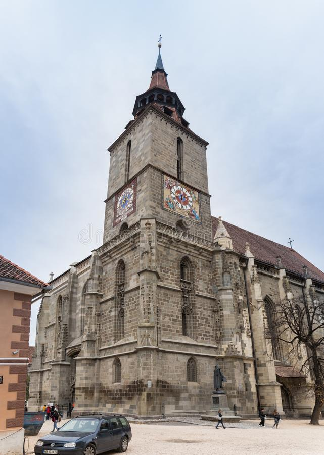 A fragment of the Black Church, built in the Gothic style and named after the dark color left after the fire of the 17th century i. Brasov, Romania, October 06 royalty free stock image