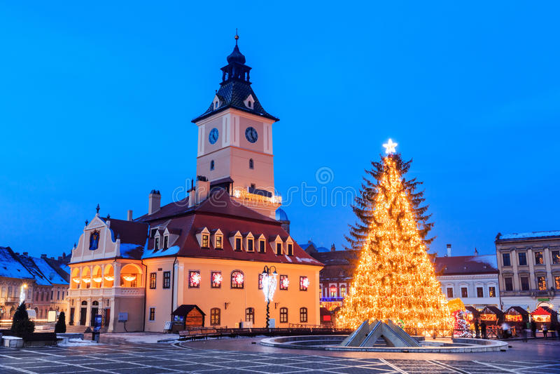 Brasov, Romania. Old city square of Brasov during Christmas, Romania royalty free stock image