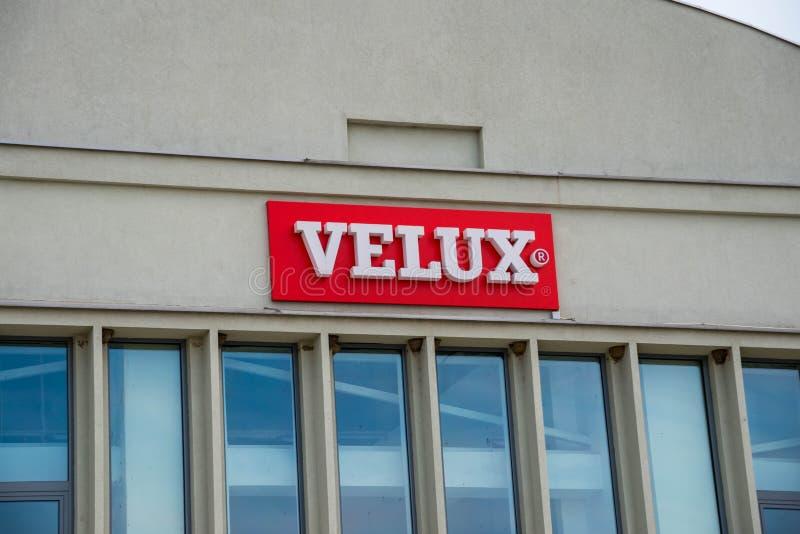 Velux business logo close up shot . stock image