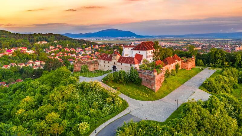 Brasov, Romania - Sunset on Citadel, Transylvania royalty free stock photography