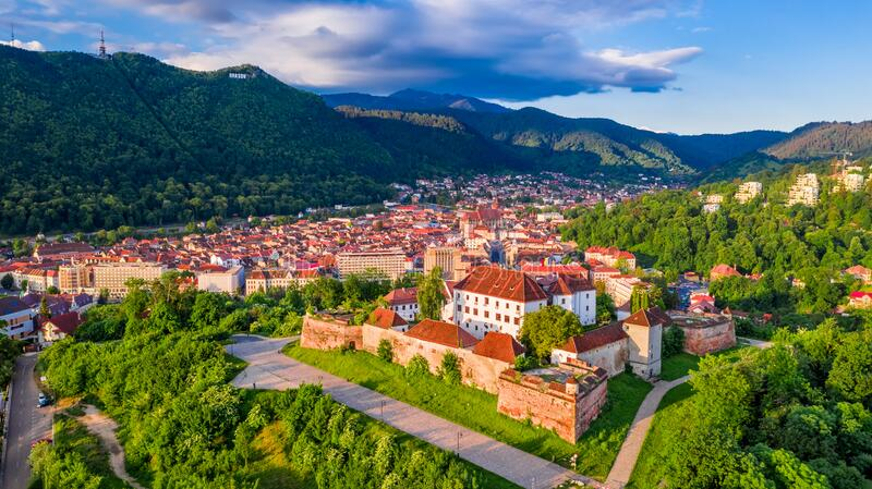 Brasov, Romania - Sunset on Citadel, Transylvania royalty free stock photo